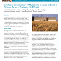 Simultaneous Analysis of 10 Mycotoxins in Crude Extracts of Different Types of Grains