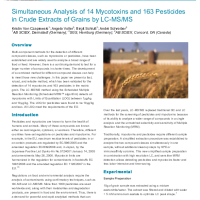 Simultaneous Analysis of 14 Mycotoxins and 163 Pesticides in Crude Extracts of Grains