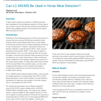Can LC-MS:MS Be Used in Horse Meat Detection
